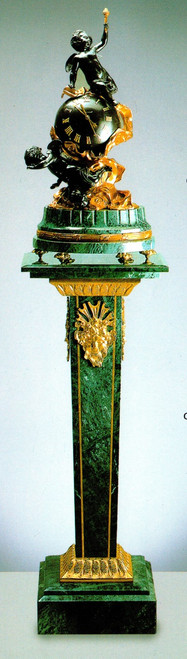 "Verde Delle Alpi, Green Italian Marble & Brass Ormolu Clock and Column, 68.82"" Set, French Gold Gilt - Handmade Reproduction of a 17th, 18th Century Dore Bronze Antique, 6676"