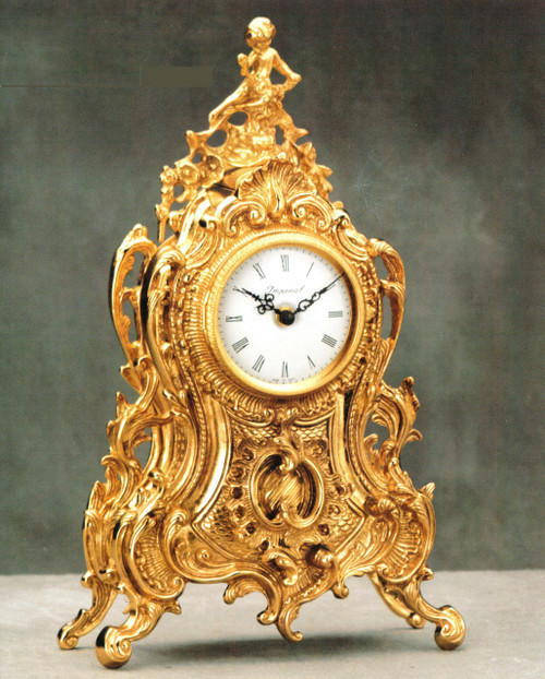 Ornamental d'Oro Ormolu - Shelf, Mantel, or Desk Clock - Louis Quinze, Rococo - Choose Your Finish - Handmade Reproduction of a 17th, 18th Century Dore Bronze Antique, 6675