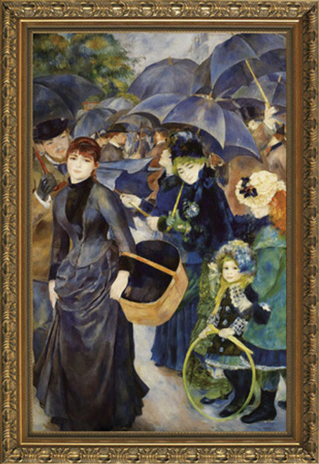 "The Umbrellas - Pierre Auguste Renoir - Framed Canvas Artwork 1283DB 24.75"" x 34.75"""