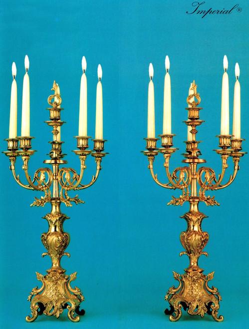 "Gilt Brass Ormolu, Five light 25.98"" Candelabra Set, French Gold Finish - Handmade Reproduction of a 17th, 18th Century Dore Bronze Antique, 6673"