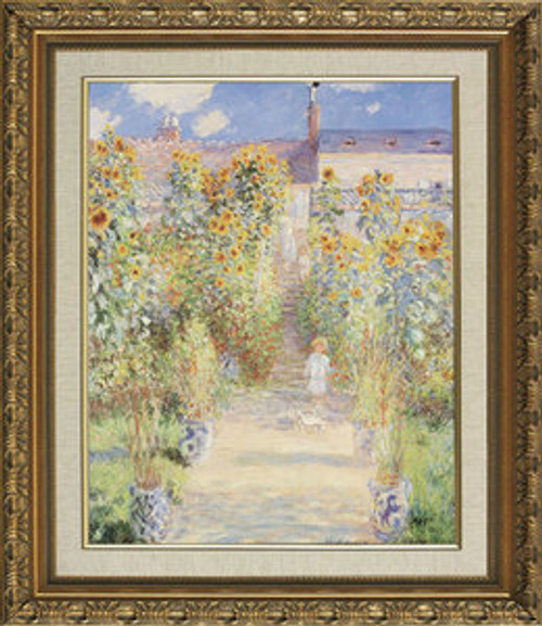 "The Artist's Garden at Vetheuil - Claude Monet - Framed Canvas Artwork 967BB 16.75"" x 19.75"""