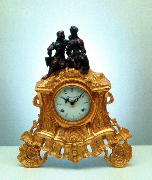 Ornate d'Oro Ormolu - Shelf, Mantel, or Desk Clock - Adoring Couple - Choose Your Finish - Handmade Reproduction of a 17th, 18th Century Dore Bronze Antique, 6663