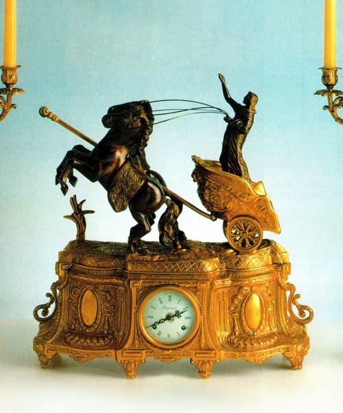 Ornate d'Oro Ormolu - Desk, Shelf, Mantel Clock - Choose Your Finish - Horse Drawn Egyptian Chariot - Handmade Reproduction of a 17th, 18th Century Dore Bronze Antique, 6659