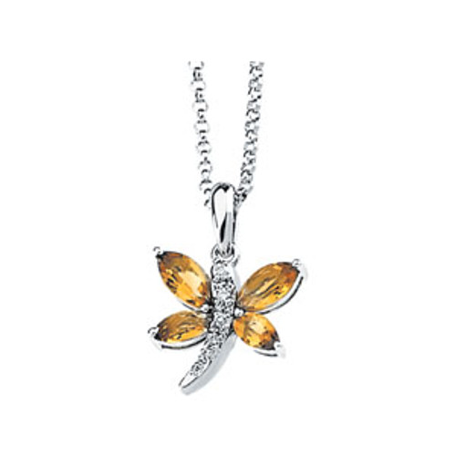 Citrine & Diamond Dragonfly Necklace 14K Gold