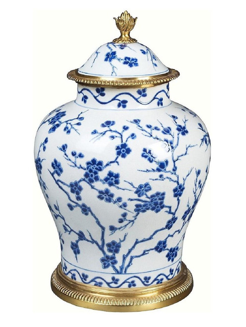 Luxe Life Classic Blue and White Pattern, Finely Finished Porcelain and Gilt Bronze Ormolu, 14 Inch Temple Jar 6646 ME - Porcelain Temple Jar