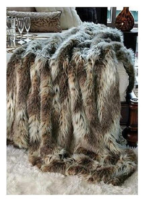 """Eurasian Lynx Faux Fur Throw - Natural looking & Luxuriously Soft - Large 58"""" X 59"""""""