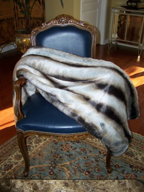 """Chinchilla Faux Fur Throw - Natural look & Luxuriously Soft - Large 58"""" X 59"""""""