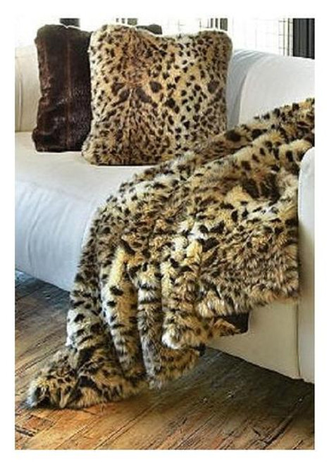 """Leopard Faux Fur Throw - Natural looking & Luxuriously Soft - Large 58"""" X 59"""""""