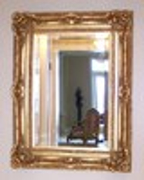 "A French Baroque Louis Quatorze Style, 7.5"" Oversized Frame, Large 55"" Drama Bevel Glass Antiqued Gold Mirror"
