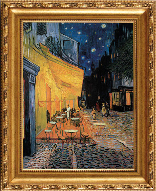 Café Terrace On The Place Du Forum - Vincent Van Gogh - Framed Canvas Artwork 409 35 x 57