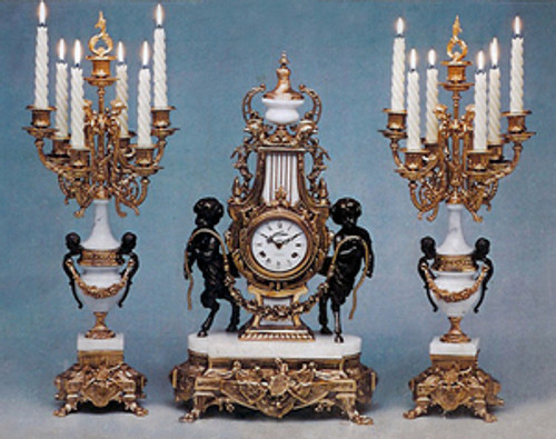 Antique Style French Louis Garniture, Gilt Brass Ormolu, Bianco Carrera Italian Marble Mantel Clock & Candelabra, French Gold Finish, Handmade Reproduction of a 17th, 18th Century Dore Bronze Antique, 265