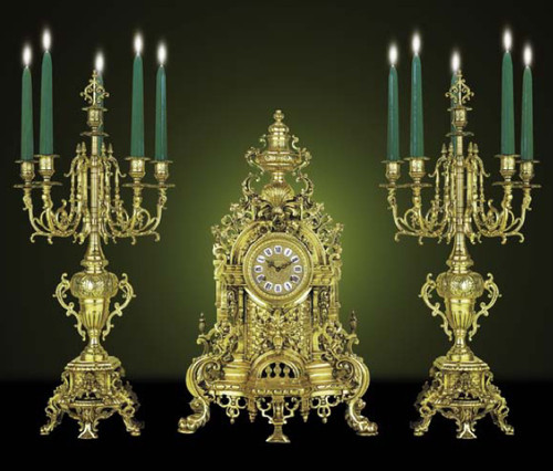 Antique 18th Century Style French Neo Classical, Louis XVI Garniture, Gilt Brass Ormolu Mantel Clock and Six Arm Candelabra Set, French Gold Finish, Handmade Reproduction of a 17th, 18th Century Dore Bronze Antique, 266