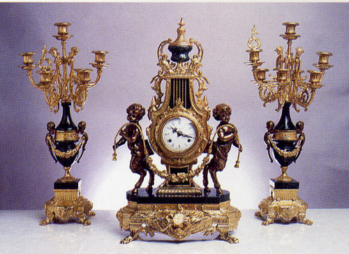 Antique Style French Louis Garniture, Gilt Brass Ormolu Nero Marquinia Italian Marble Mantel Clock & Seven Light Candelabra Pair, French Gold Finish, Handmade Reproduction of a 17th, 18th Century Dore Bronze Antique, 247