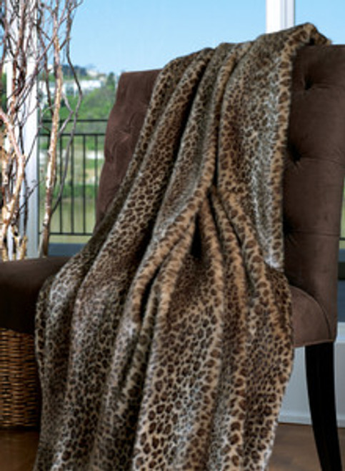 """Javan Leopard Faux Fur Throw - Natural look & Luxuriously Soft - Oversized 58"""" X 83"""""""
