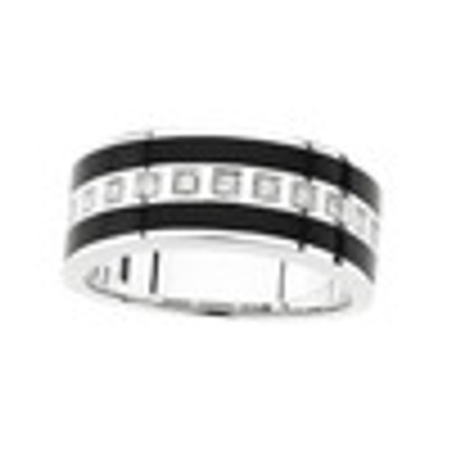 Men's Inset Black Onyx & Diamond Wedding Band Ring 14K White Gold