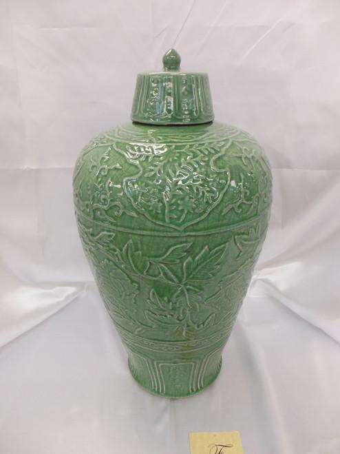 Lyvrich Fine Handcrafted Peerless Porcelain - Round, Potiche Leaf Jar - Celadon Large Crackle - 20.5t X 11w X 11d
