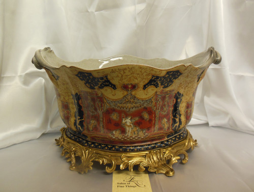 Lyvrich Fine Handcrafted d'oro Ormolu and Exquisite Porcelain Flower Pot Planter, Centerpiece, Renaissance in Red and Gold 11t X 19w X 13d