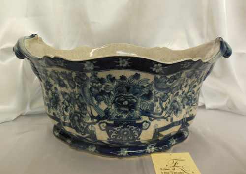 Lyvrich Fine Handcrafted Porcelain - Flower Pot Planter, Centerpiece - Blue Floral and Crackle Antique White - 11t X 19w X 13d