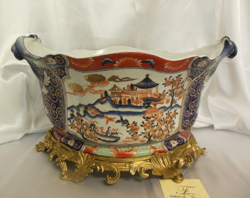 Lyvrich Fine Handcrafted d'oro Ormolu Porcelain - Flower Pot Planter, Centerpiece - Polychrome Chinese Theme - 11t X 19w X 13d
