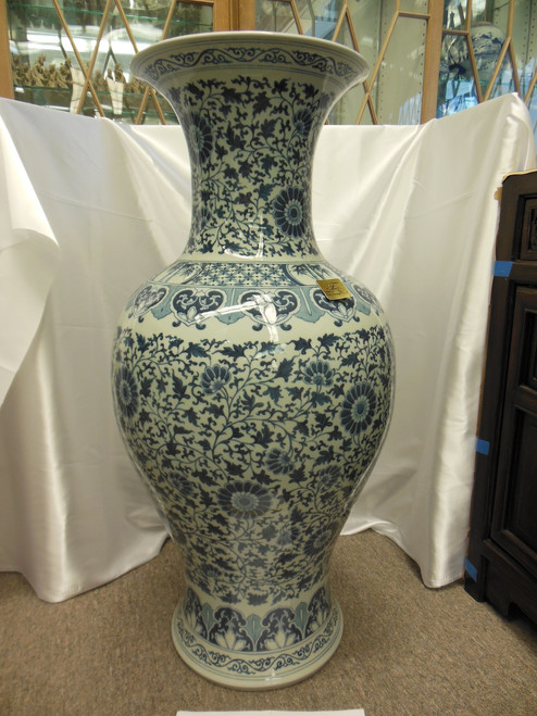Lyvrich Fine Handcrafted Porcelain - Muted Blu e Bianco Floral Scroll - Muted Blue and Off White - Extra Large, Round, Palace Vase - 36t X 18w X 18d