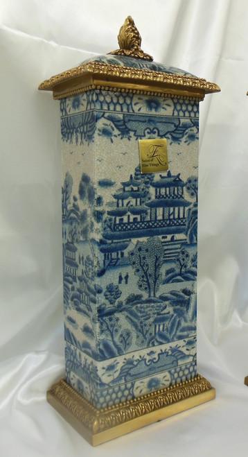 Lyvrich Fine Handcrafted d'oro Ormolu Transcendent Porcelain - Rectangular Jar, Centerpiece, Mantel Urn - Blue and Crackle Antique White Pagoda - 19.25t X 7w X 5d