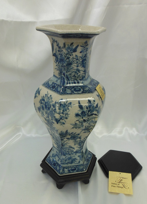 Lyvrich Fine Handcrafted Porcelain - Hexagon Mantel Vase - Toile Indigo Blue Floral and Crackle Antique White - 18.5t X 8w X 7d