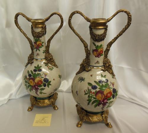 Lyvrich Elegant Handcrafted d'oro Ormolu, Superb Porcelain Centerpiece - Mantel Vase, Seasonal Summer Fruit 18.5t X 8w X 5d
