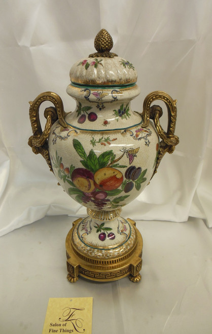 Lyvrich Elegant Handcrafted d'oro Ormolu, Superb Porcelain Centerpiece - Potiche Jar, Mantel Urn, Seasonal Summer Fruit 20.5t X 10w X 8d