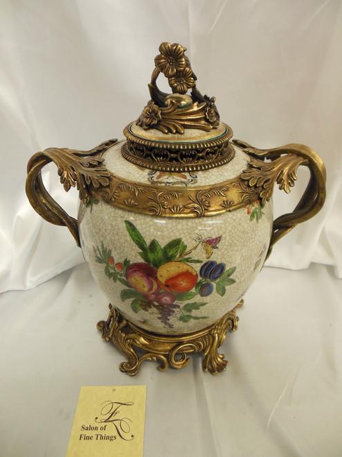Lyvrich Elegant Handcrafted d'oro Ormolu, Superb Porcelain Centerpiece - Covered Jar, Mantel Urn, Seasonal Summer Fruit 14t X 13w X 9d
