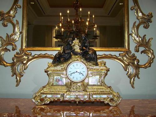 "Gilt Brass Ormolu - 16.92"" Hand Painted Porcelain Clock - Gold Gilt Finish with Franz Hermle Quartz Movement - Handmade Reproduction of a 17th, 18th Century Dore Bronze Antique, 6169"
