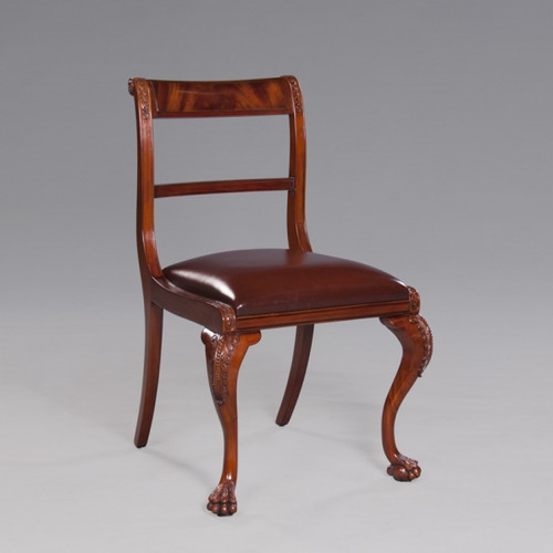 George IV English Regency Period - 34.5 Inch Handcrafted Reproduction Paw Foot Dining Side | Accent | Gaming Chair - Brown Leather Upholstery ABR - Wood Tone Luxurie Furniture Finish NWND
