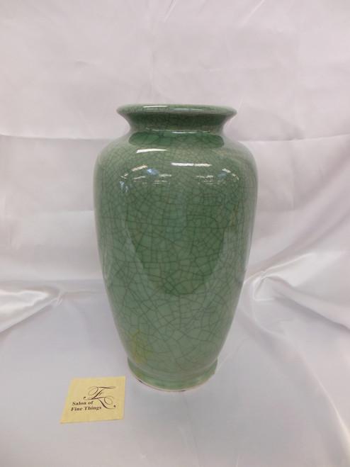 Lyvrich Fine Handcrafted Porcelain - Round Vase - Celadon Large Crackle - 14.5t X 8w X 8d