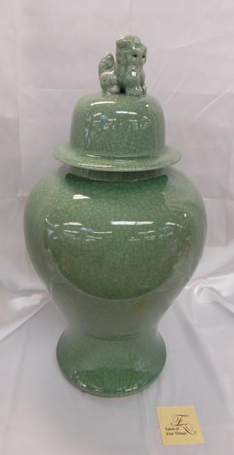 Lyvrich Fine Handcrafted Porcelain - Round Potiche, Fu Dog Temple Jar - Celadon Large Crackle - 20.5t X 11.5w X11.5d