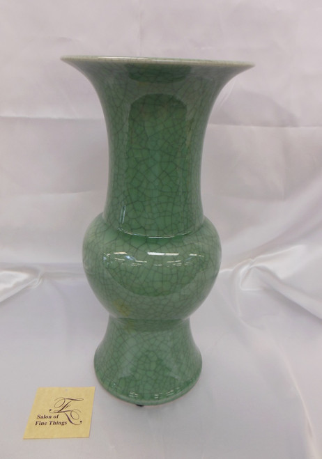 Lyvrich Fine Handcrafted Porcelain - Round Vase - Celadon Large Crackle - 16.5t X 8w X 8d
