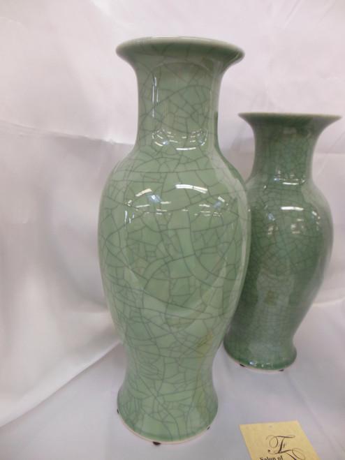 Lyvrich Fine Handcrafted Porcelain - Round Vase - Celadon Large Crackle - 16.5t X 7w X 7d