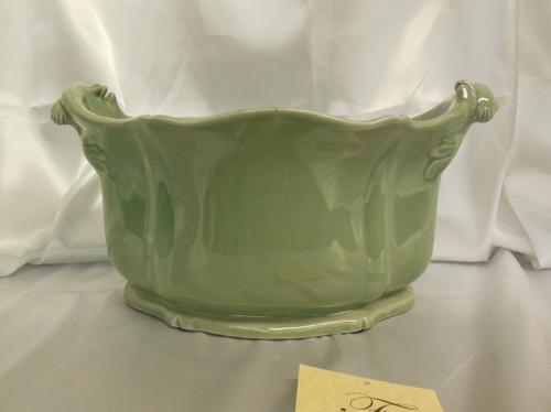 Lyvrich Fine Handmade Elegant Porcelain - Flower Pot Planter, Centerpiece - Celadon Minuscule Crackle - 11t X 19w X 13d