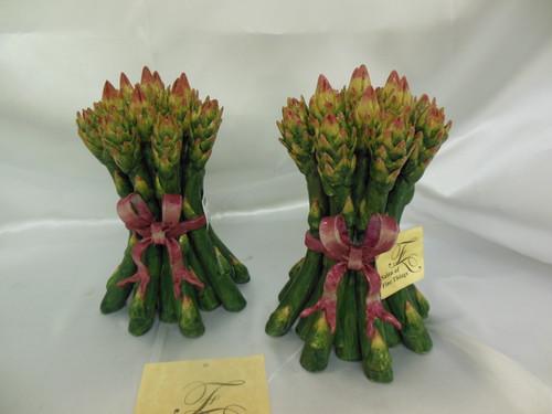 Lyvrich, Whimsical Green Asparagus Bushel - Handmade Decorative Porcelain Tchotchke - 7t X 4.75w X 4.75d
