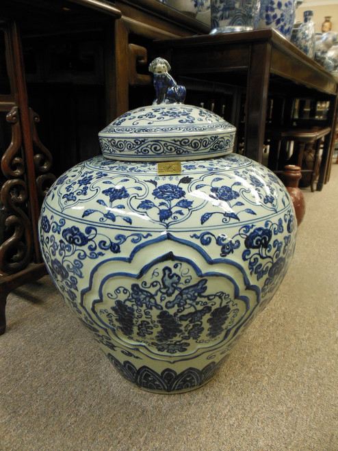 Lyvrich Fine Handcrafted Porcelain - Blue and White Oversize Jar - 26t X 20.5w X 20.5d