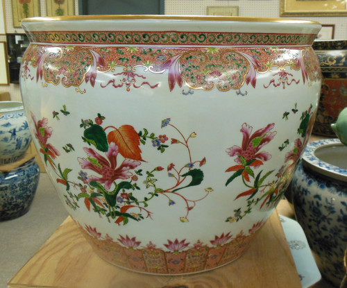 Lyvrich Fine Handcrafted Superlative Porcelain - Size 18 Fishbowl - Flower Pot Planter, Unique Side Table Base - Orchid Pattern - 15.5t X 19dia.