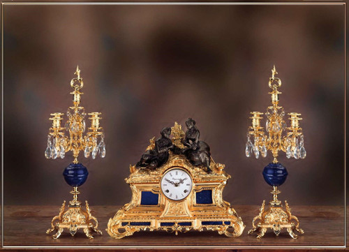 Antique Style French Louis Crystal and Lapis Lazuli, d'Oro Ormolu Garniture - Imperial Mantel Clock, Five Light Candelabra Set - 24k Gold Patina - Handmade Reproduction of a 17th, 18th Century Dore Bronze Antique, 6264