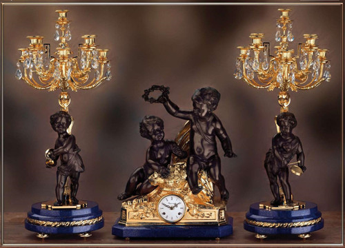 Antique Style French Louis Crystal and Lapis Lazuli, d'Oro Ormolu Garniture Mantel Clock, Nine Light Candelabra Set - 24k Gold Patina - Handmade Reproduction of a 17th, 18th Century Dore Bronze Antique, 6265