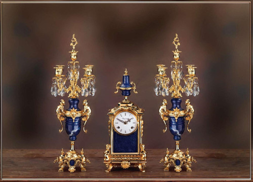 Antique Style French Louis Crystal and Lapis Lazuli, d'Oro Ormolu Garniture Mantel Clock, Five Light Candelabra Set - 24k Gold Patina - Handmade Reproduction of a 17th, 18th Century Dore Bronze Antique, 6266