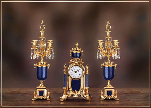 Antique Style French Louis Crystal and Lapis Lazuli, d'Oro Ormolu Garniture Mantel Clock, Five Light Candelabra Set - 24k Gold Patina - Handmade Reproduction of a 17th, 18th Century Dore Bronze Antique, 6267