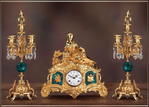 Antique Style French Louis Crystal and Malachite, d'Oro Ormolu Garniture Mantel Clock, Five Light Candelabra Set - 24k Gold Patina - Handmade Reproduction of a 17th, 18th Century Dore Bronze Antique, 6268