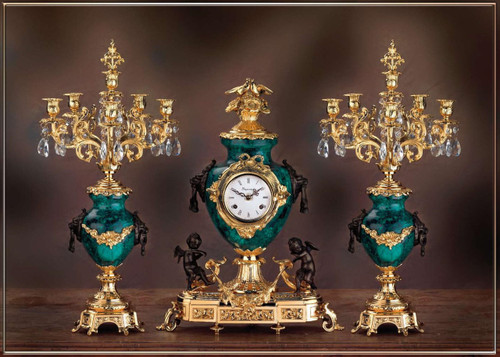 Antique Style French Louis Crystal and Malachite, d'Oro Ormolu Garniture Mantel Clock, Six Light Candelabra Set - 24k Gold, Polychrome Patina - Handmade Reproduction of a 17th, 18th Century Dore Bronze Antique, 6269