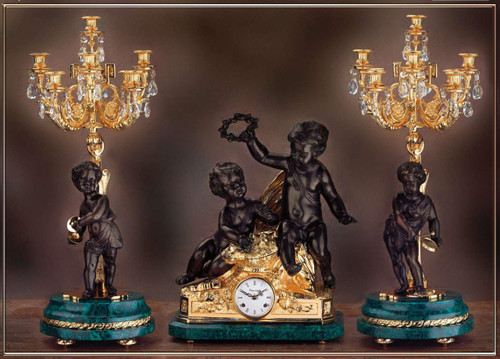 Antique Style French Louis Crystal and Malachite, d'Oro Ormolu Garniture - Mantel Clock, Nine Light Candelabra Set - 24k Gold, Polychrome Patina, Handmade Reproduction of a 17th, 18th Century Dore Bronze Antique, 6270