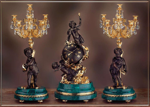 Antique Style French Louis Crystal and Malachite, d'Oro Ormolu Garniture - Mantel Clock, Nine Light Candelabra Set - 24k Gold, Polychrome Patina, Handmade Reproduction of a 17th, 18th Century Dore Bronze Antique, 6271