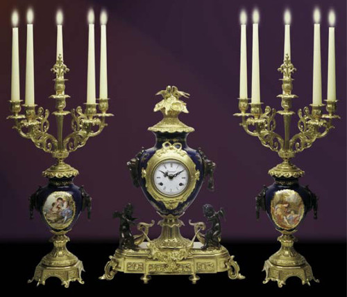 Antique Style French Louis Porcelain, Blu Cobalto, d'Oro Ormolu Garniture - Mantel Clock, Six Light Candelabra Set - French Gold, Polychrome Patina - Handmade Reproduction of a 17th, 18th Century Dore Bronze Antique, 6272
