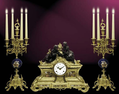 Antique Style French Louis Porcelain, Blu Cobalto, d'Oro Ormolu Garniture - Victor Hugo Mantel Clock, Five Light Candelabra Set - French Gold, Polychrome Patina - Handmade Reproduction of a 17th, 18th Century Dore Bronze Antique, 6273