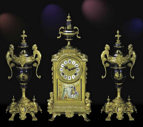 Antique Style French Louis Porcelain, Blu Cobalto, d'Oro Ormolu Garniture - Mantel Clock, Urn Set - French Gold Patina - Handmade Reproduction of a 17th, 18th Century Dore Bronze Antique, 6274